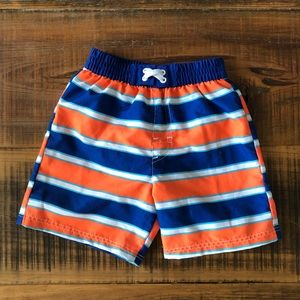 Orange and blue swim trunks